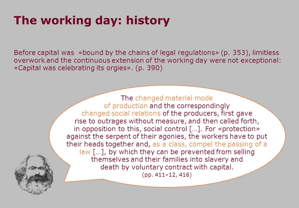The working day: history The changed material mode of production and the correspondingly changed social relations of the producers, first gave rise to outrages without measure, and then called forth, in opposition to this, social control […].