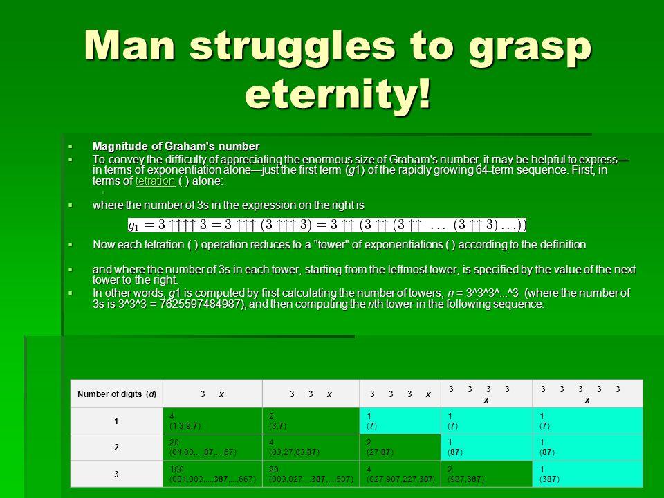 Man struggles to grasp eternity.