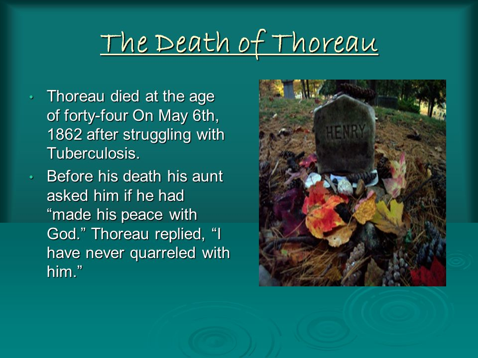 The Death of Thoreau Thoreau died at the age of forty-four On May 6th, 1862 after struggling with Tuberculosis.