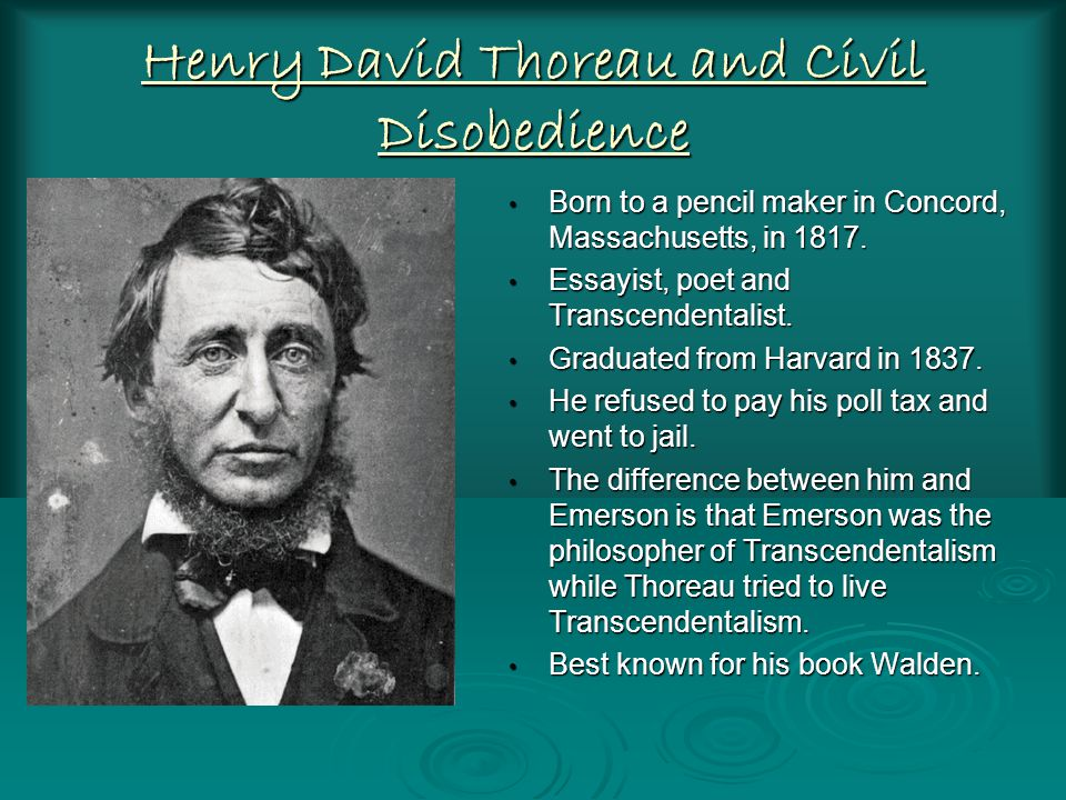 Henry David Thoreau and Civil Disobedience Born to a pencil maker in Concord, Massachusetts, in 1817.