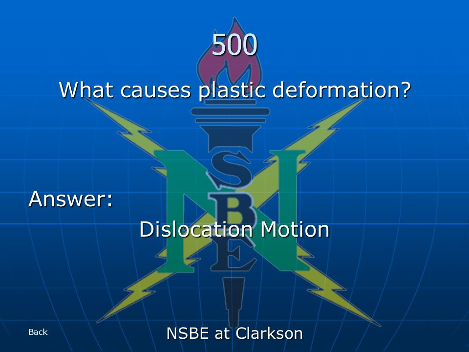 NSBE at Clarkson 500 What causes plastic deformation Answer: Dislocation Motion Back