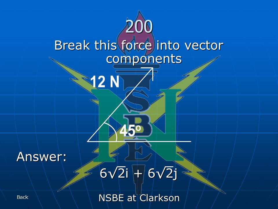 NSBE at Clarkson 200 Break this force into vector components Answer: 6√2i + 6√2j Back