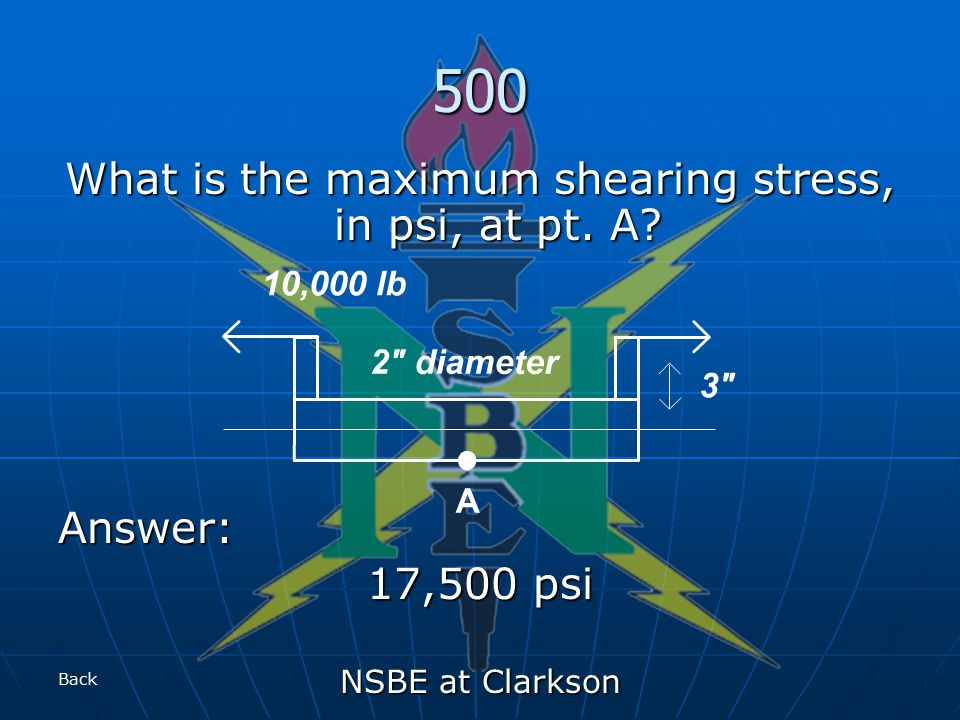 NSBE at Clarkson 500 What is the maximum shearing stress, in psi, at pt. A Answer: 17,500 psi Back
