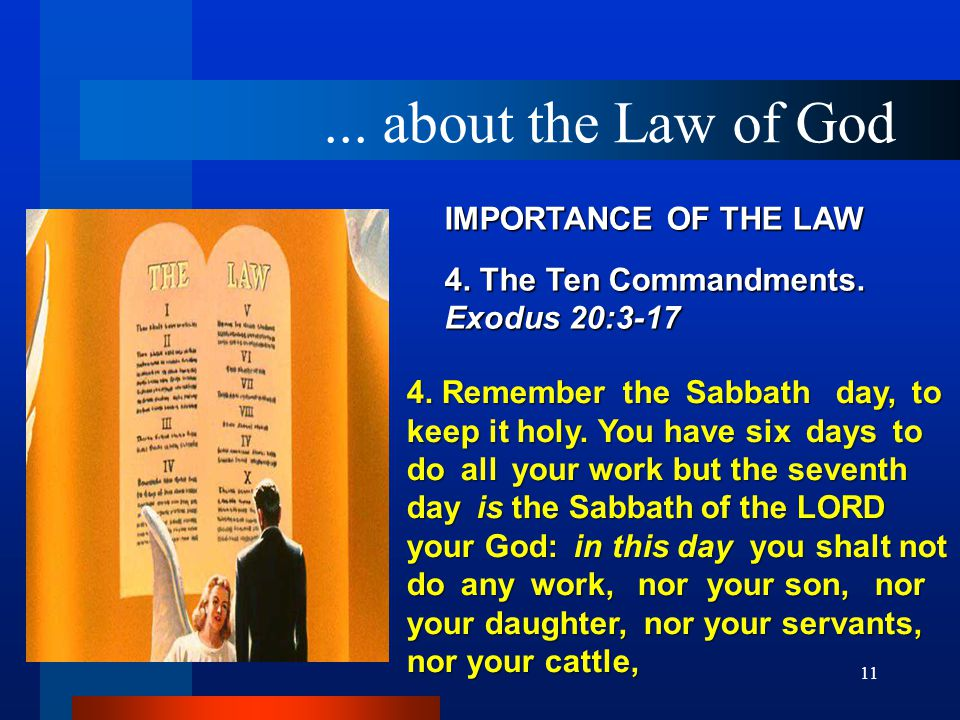 11 IMPORTANCE OF THE LAW 4.The Ten Commandments. Exodus 20:3 ‑ 17 4.