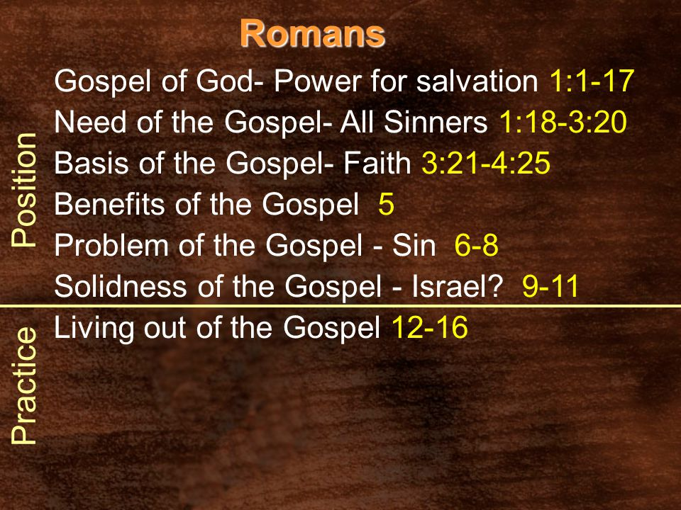 Romans Gospel of God- Power for salvation 1:1-17 Need of the Gospel- All Sinners 1:18-3:20 Basis of the Gospel- Faith 3:21-4:25 Benefits of the Gospel