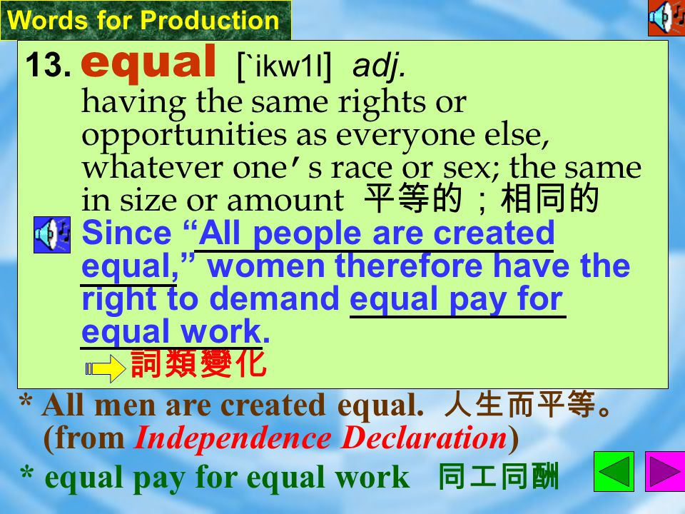 Words for Production 12. self-evident [ &sElf`Ev1d1nt ] adj.