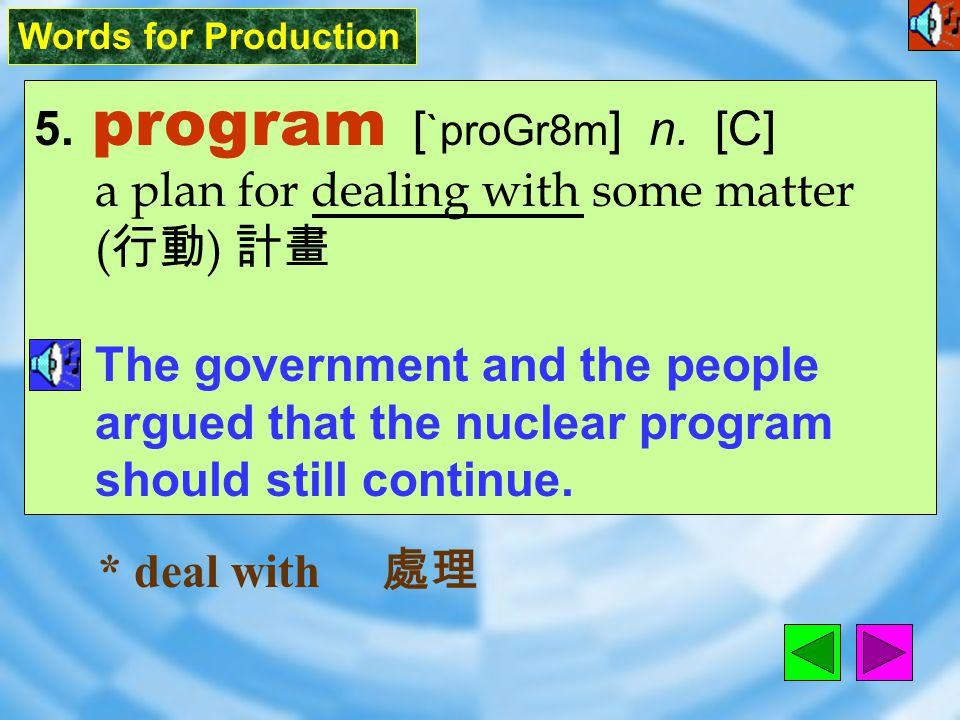 Words for Production 5.program [ `proGr8m ] n.