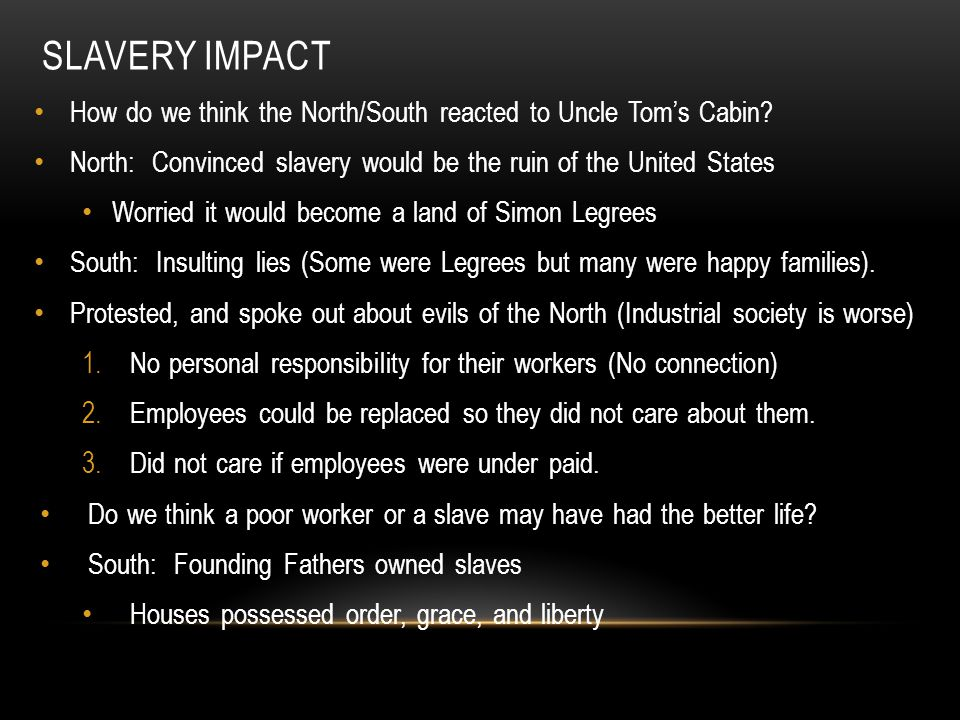 SLAVERY IMPACT How do we think the North/South reacted to Uncle Tom's Cabin.