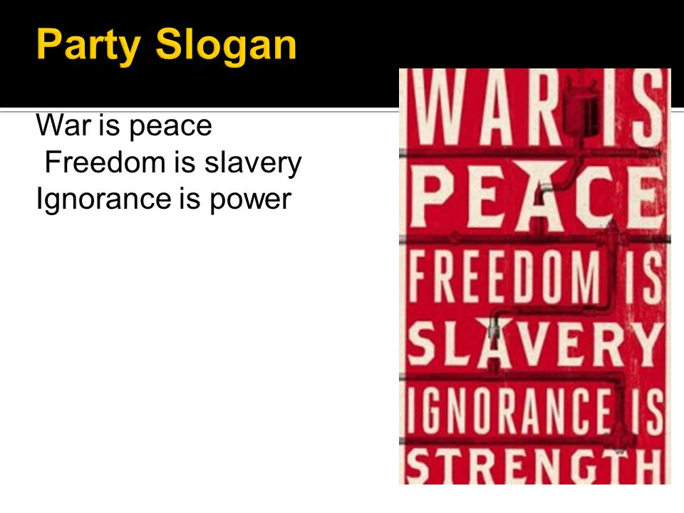 War is peace Freedom is slavery Ignorance is power