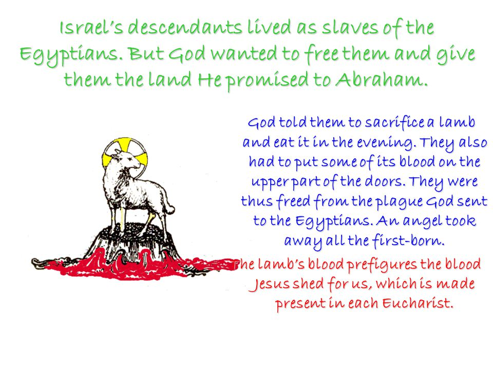 Israel's descendants lived as slaves of the Egyptians.