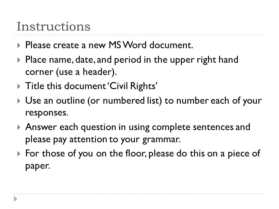 Instructions  Please create a new MS Word document.