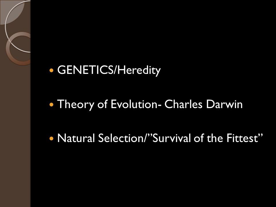GENETICS/Heredity Theory of Evolution- Charles Darwin Natural Selection/ Survival of the Fittest