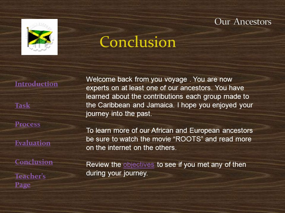 Conclusion Welcome back from you voyage. You are now experts on at least one of our ancestors.