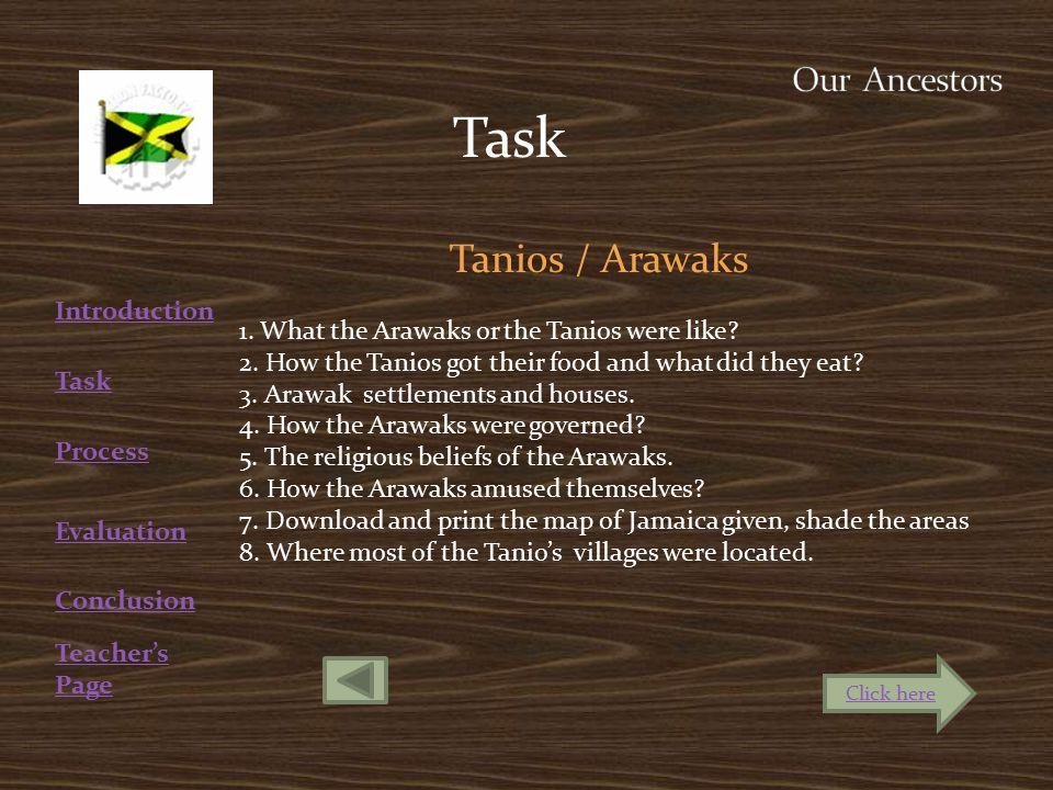 Teacher's Page Introduction Evaluation Conclusion Task Tanios / Arawaks 1.