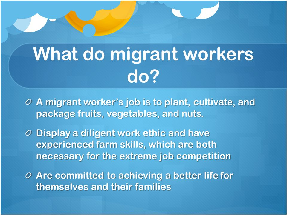 What do migrant workers do.