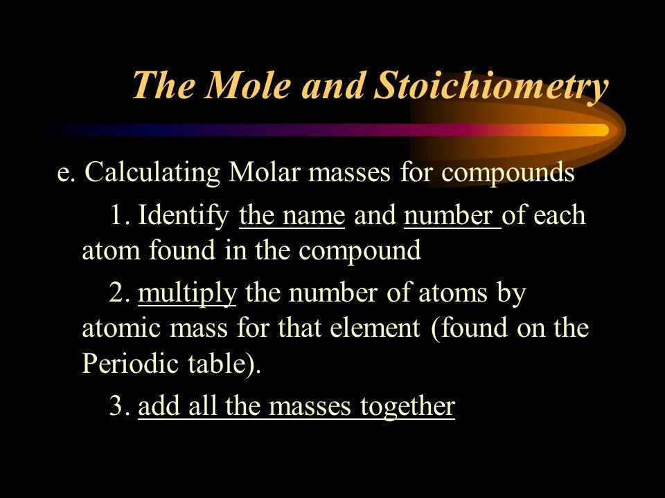 The Mole and Stoichiometry e.Calculating Molar masses for compounds 1.