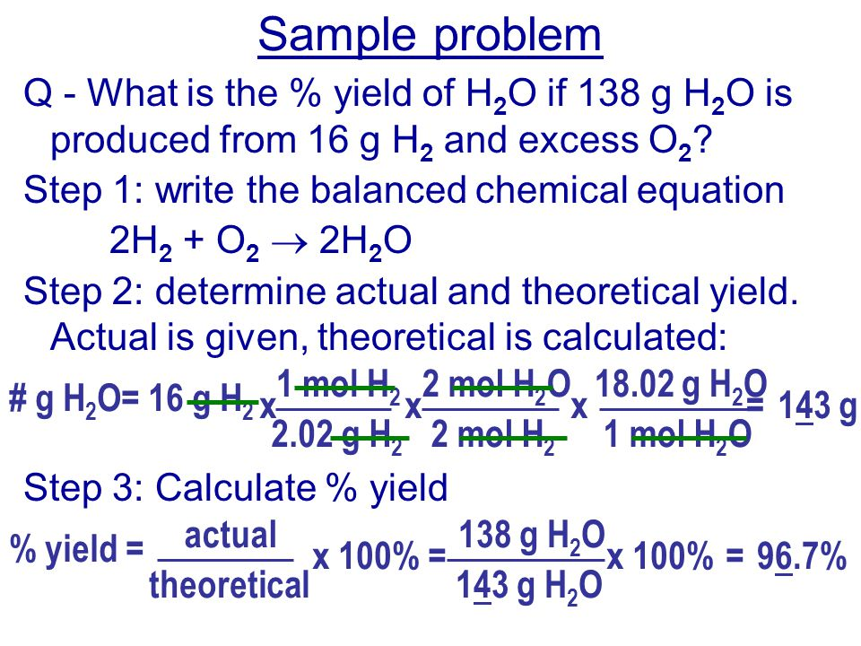 Percentage Yield 2.755g percentage yield = --------------- x 100 3.150g percentage yield = 87.46 %