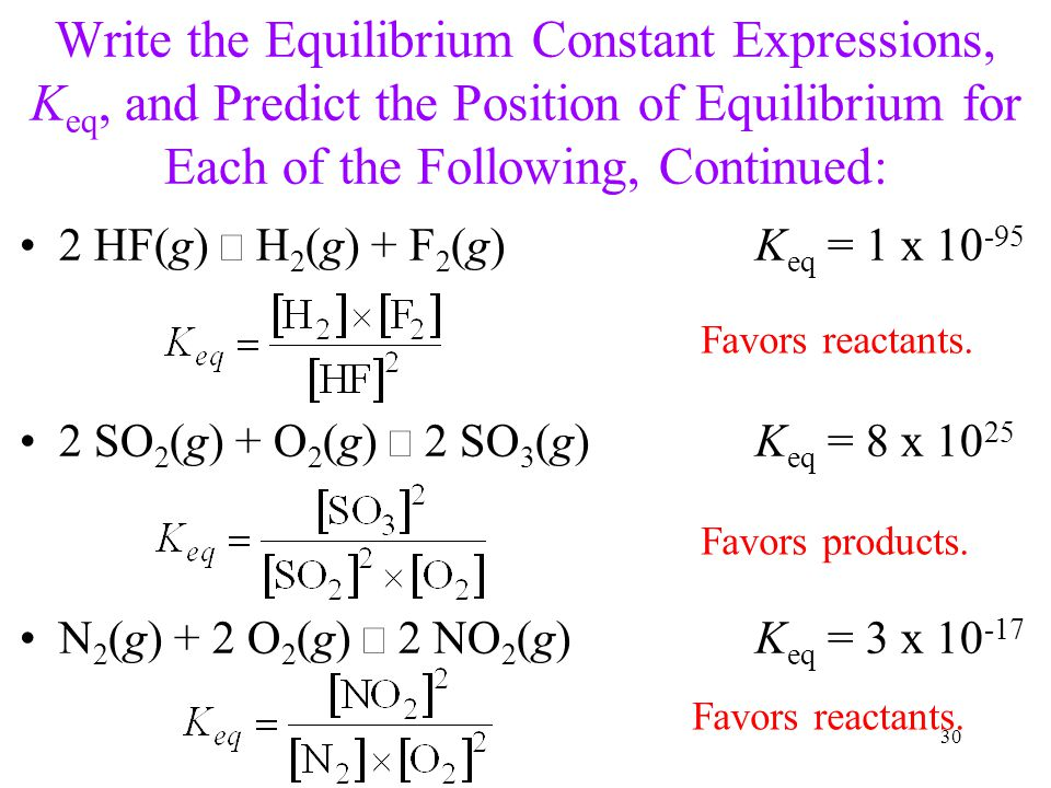 Write the Equilibrium Constant Expressions, K eq, and Predict the Position of Equilibrium for Each of the Following, Continued: 2 HF(g)  H 2 (g) + F