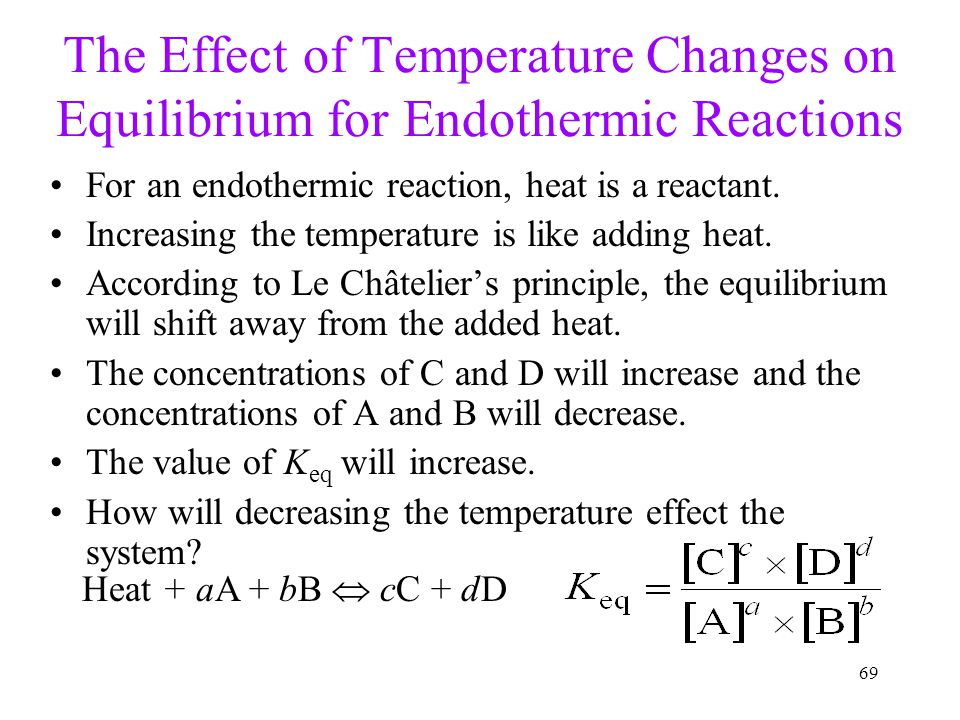 69 The Effect of Temperature Changes on Equilibrium for Endothermic Reactions For an endothermic reaction, heat is a reactant. Increasing the temperat