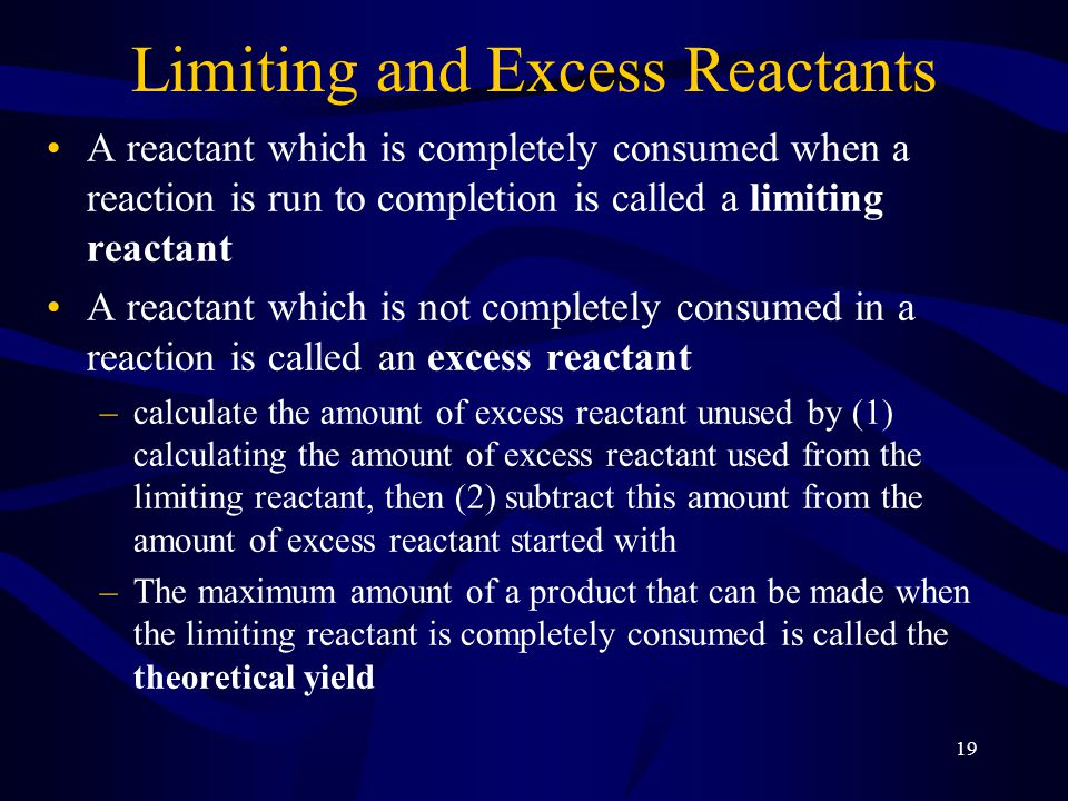 20 Limiting Reactant The limiting reactant is the reactant that is consumed first, limiting the amounts of products formed.