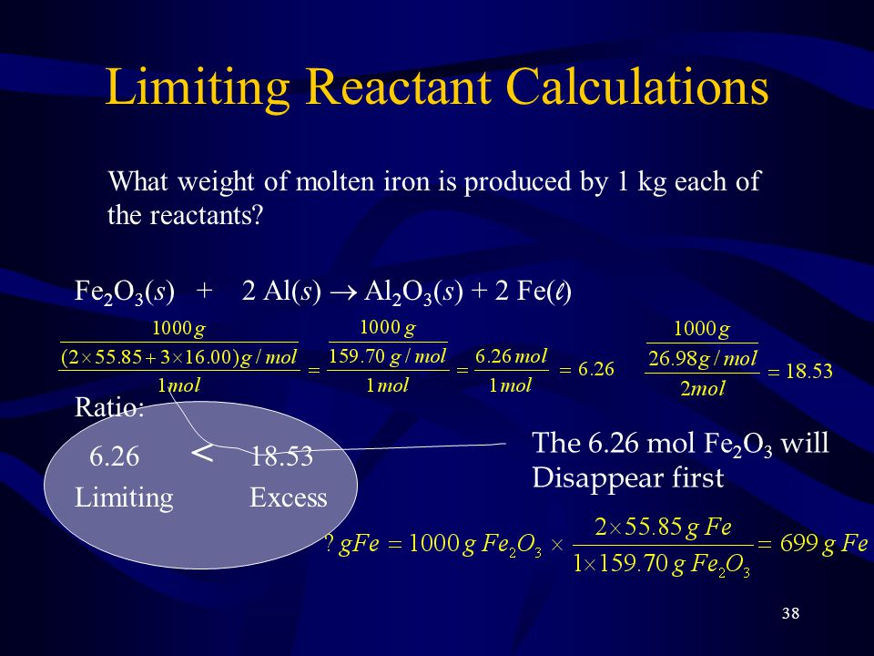 38 Limiting Reactant Calculations What weight of molten iron is produced by 1 kg each of the reactants.