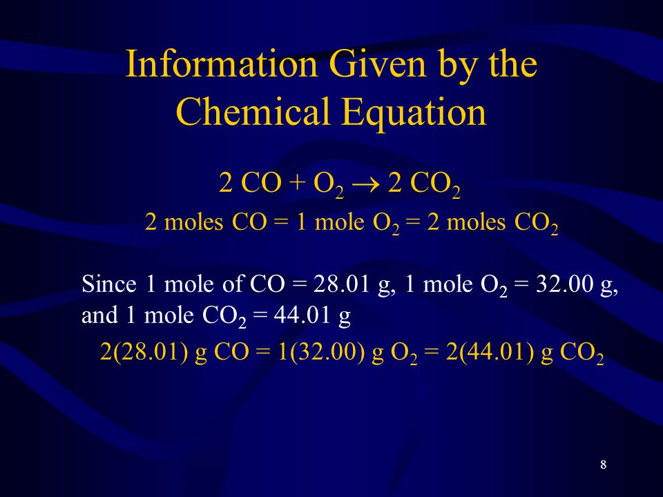 8 Information Given by the Chemical Equation 2 CO + O 2  2 CO 2 2 moles CO = 1 mole O 2 = 2 moles CO 2 Since 1 mole of CO = 28.01 g, 1 mole O 2 = 32.00 g, and 1 mole CO 2 = 44.01 g 2(28.01) g CO = 1(32.00) g O 2 = 2(44.01) g CO 2