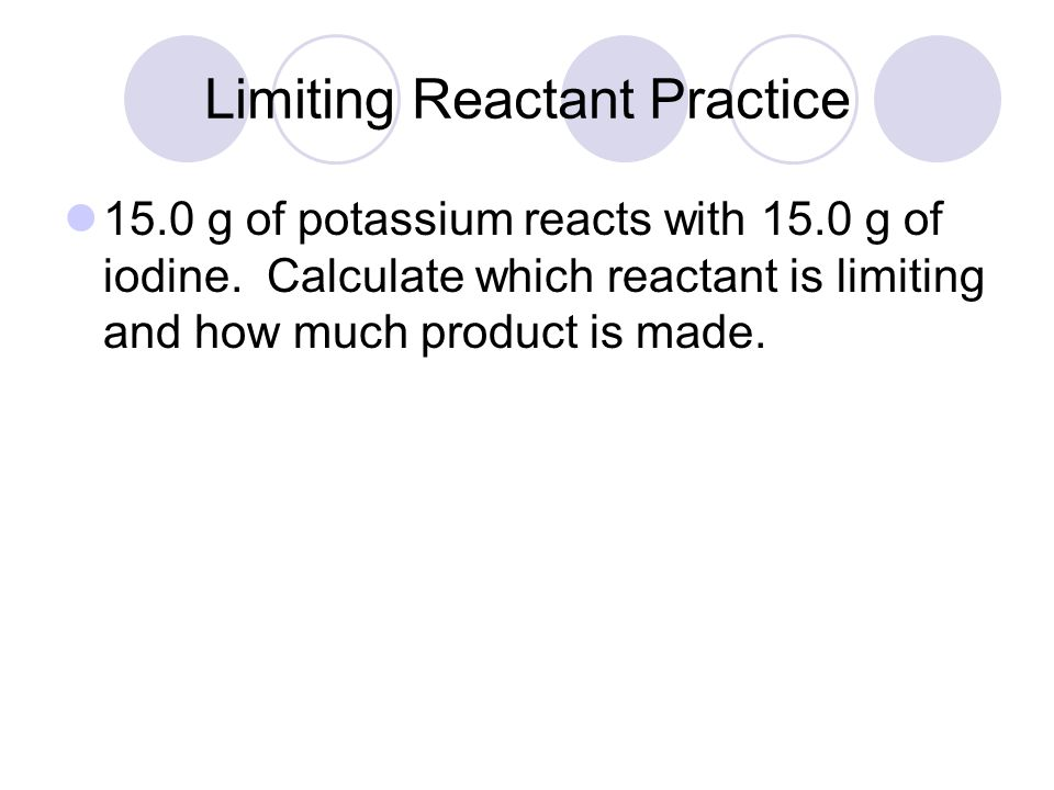 LR Example Continued We get 49.4g of aluminum chloride from the given amount of aluminum, but only 43.9g of aluminum chloride from the given amount of chlorine.