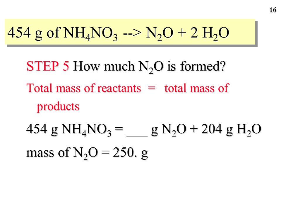 15 GENERAL PLAN FOR STOICHIOMETRY CALCULATIONS Mass reactant Stoichiometric factor Moles reactant Moles product Mass product