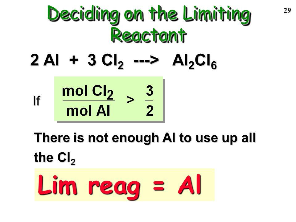 28 2 Al + 3 Cl 2 ---> Al 2 Cl 6 Reactants must be in the mole ratio Step 1 of LR problem: compare actual mole ratio of reactants to theoretical mole r