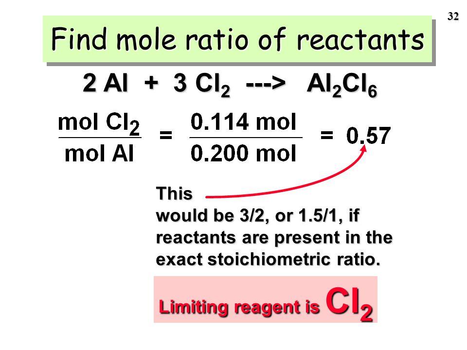 31 We have 5.40 g of Al and 8.10 g of Cl 2 Step 2 of LR problem: Calculate moles of each reactant