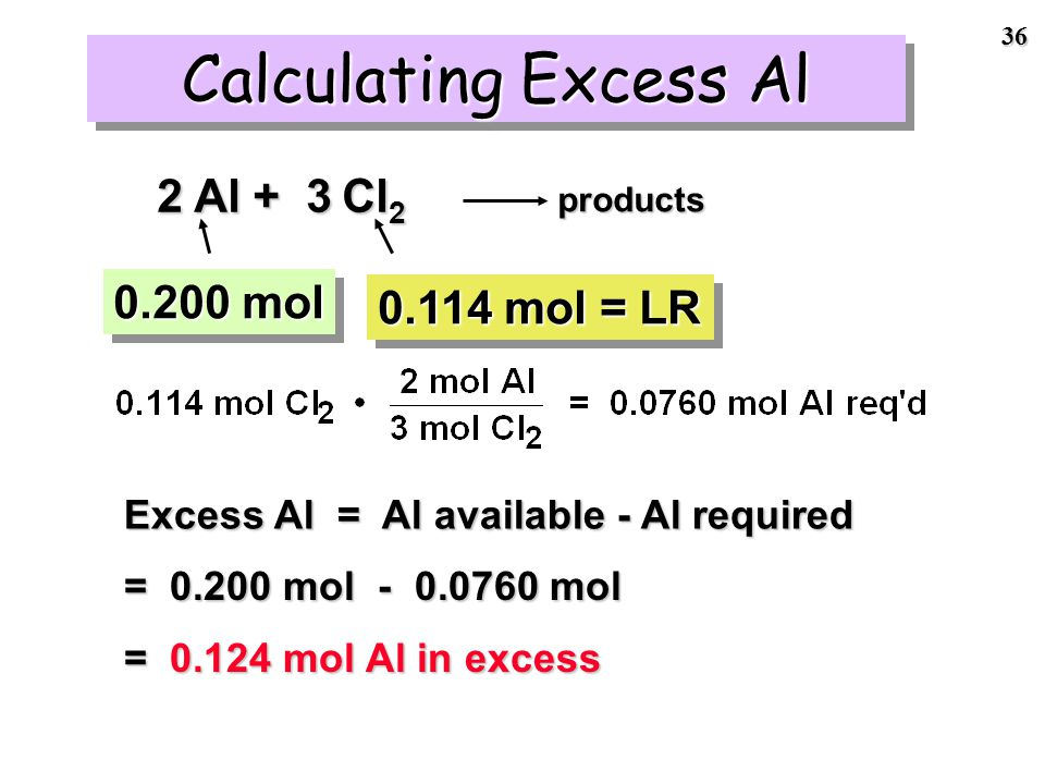35 Cl 2 was the limiting reactant.Cl 2 was the limiting reactant.
