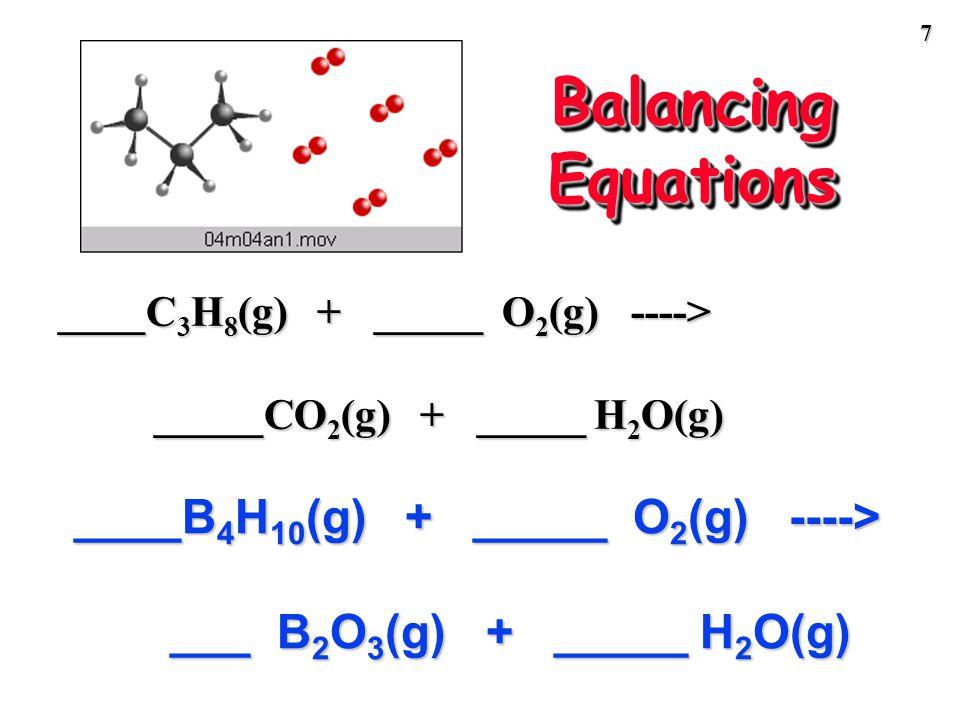 6 Balancing Equations ___ Al(s) + ___ Br 2 (liq) ---> ___ Al 2 Br 6 (s)