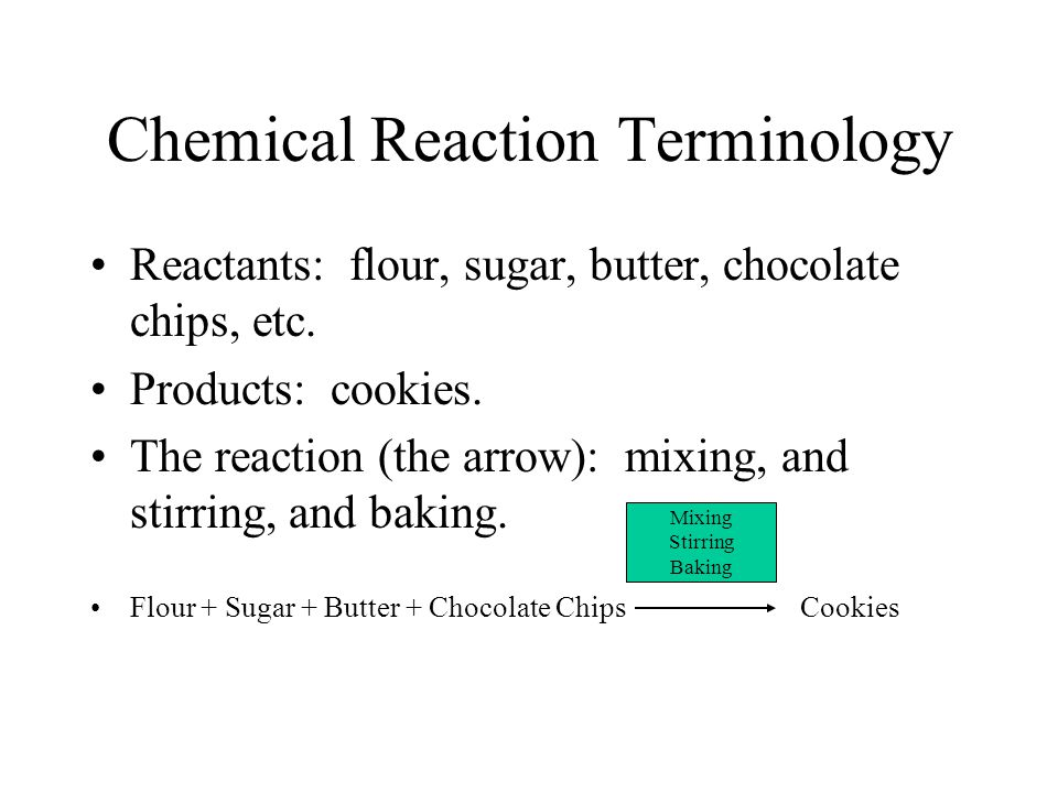 Chemical Reaction Terminology Reactants: flour, sugar, butter, chocolate chips, etc. Products: cookies. The reaction (the arrow): mixing, and stirring
