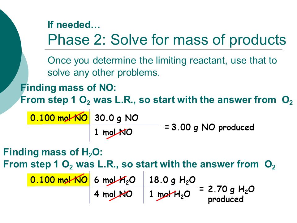 1 mol H 2 O4 mol NO 0.100 mol NO 1 mol NO 0.100 mol NO30.0 g NO If needed… Phase 2: Solve for mass of products = 3.00 g NO produced 6 mol H 2 O18.0 g H 2 O = 2.70 g H 2 O produced Once you determine the limiting reactant, use that to solve any other problems.
