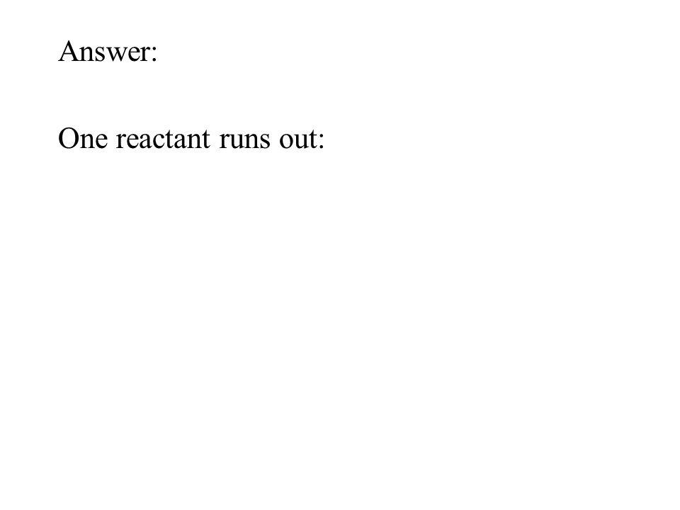 One reactant runs out: