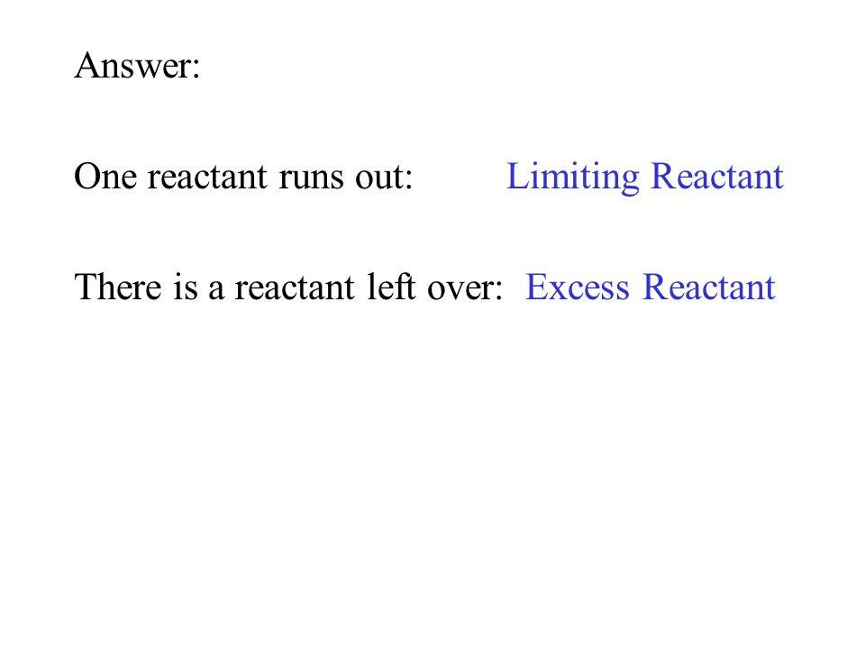 Answer: One reactant runs out:Limiting Reactant There is a reactant left over: Excess Reactant