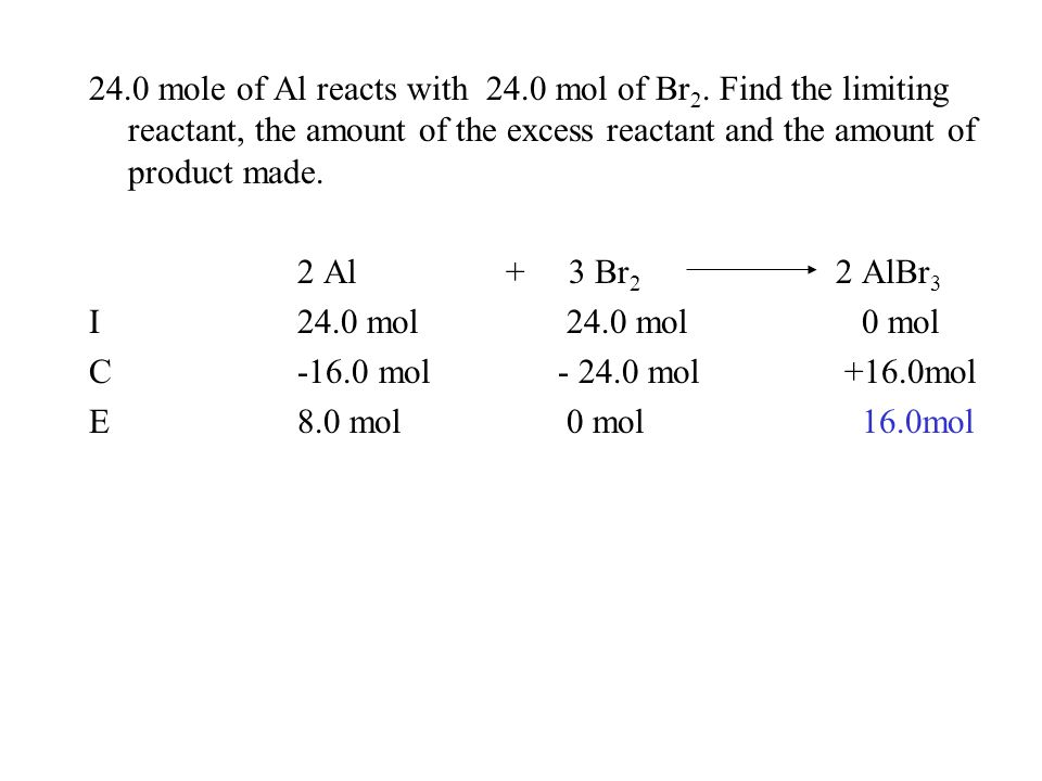 24.0 mole of Al reacts with 24.0 mol of Br 2. Find the limiting reactant, the amount of the excess reactant and the amount of product made. 2 Al + 3 B