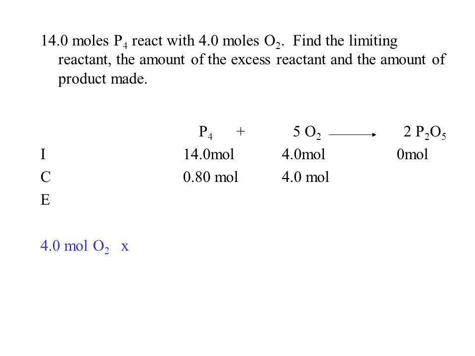 14.0 moles P 4 react with 4.0 moles O 2. Find the limiting reactant, the amount of the excess reactant and the amount of product made. P 4 + 5 O 2 2 P