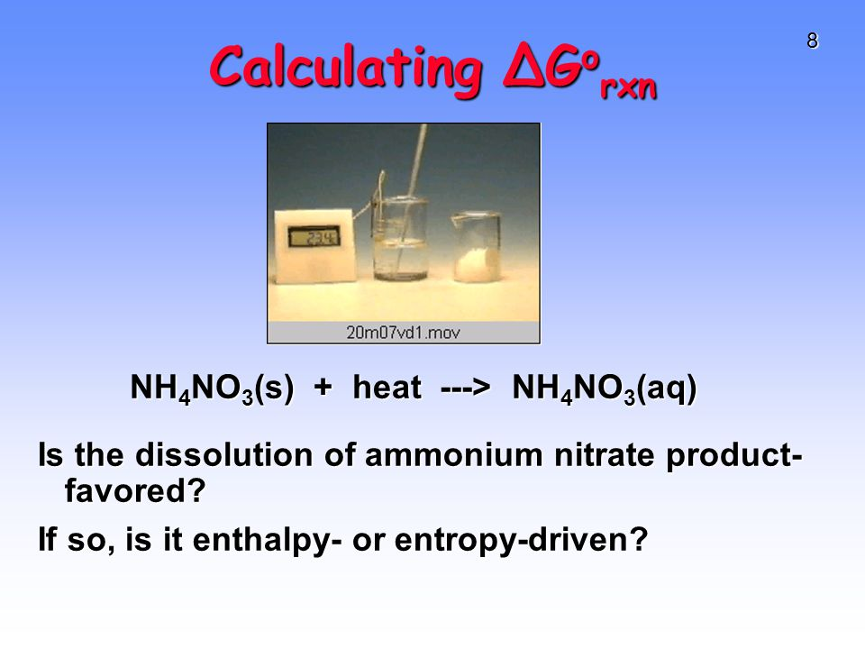8 Calculating ∆G o rxn Is the dissolution of ammonium nitrate product- favored.
