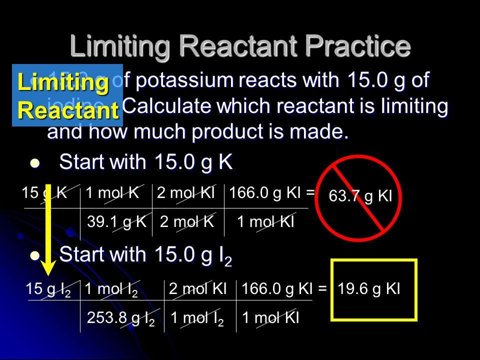 LR Example Continued We get 49.4g of aluminum chloride from the given amount of aluminum, but only 43.9g of aluminum chloride from the given amount of