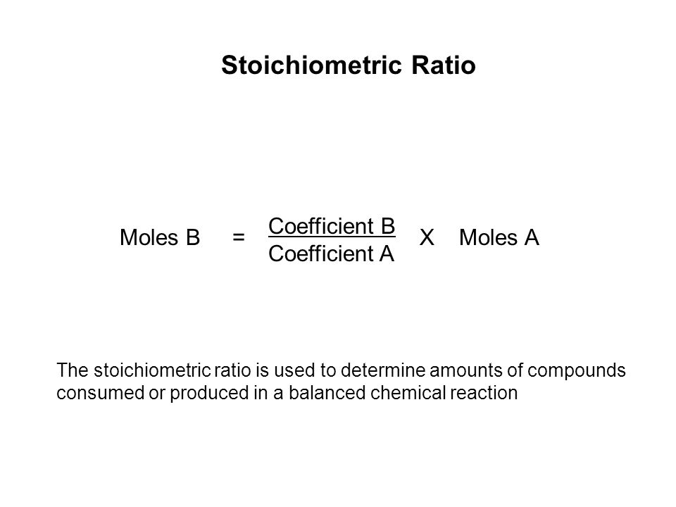 Stoichiometric Ratio Coefficient B Coefficient A Moles B = X Moles A The stoichiometric ratio is used to determine amounts of compounds consumed or pr