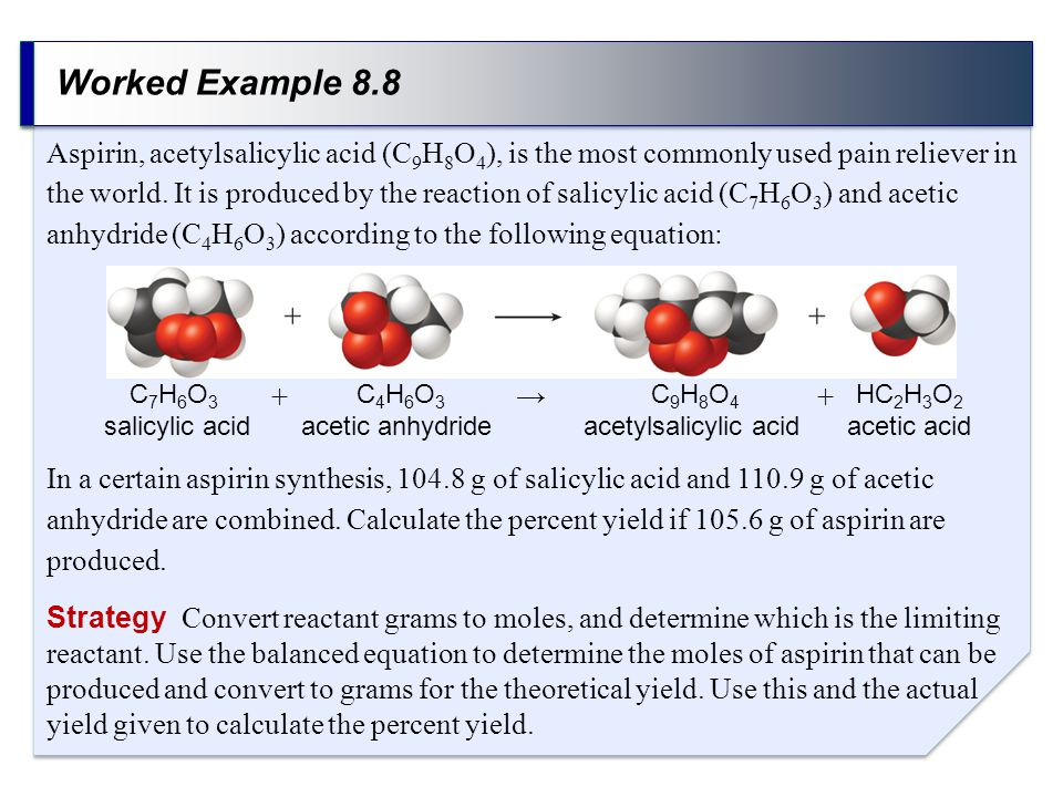 Worked Example 8.8 Strategy Convert reactant grams to moles, and determine which is the limiting reactant. Use the balanced equation to determine the