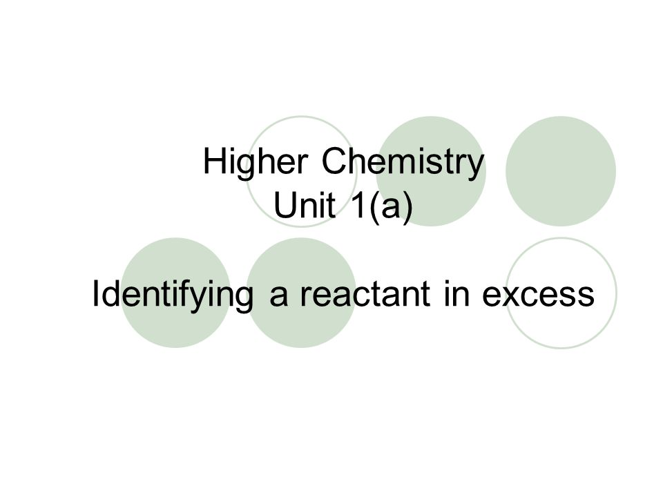 Higher Chemistry Unit 1(a) Identifying a reactant in excess