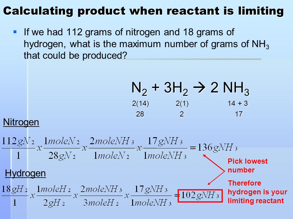 Calculating product when reactant is limiting   If we had 112 grams of nitrogen and 18 grams of hydrogen, what is the maximum number of grams of NH