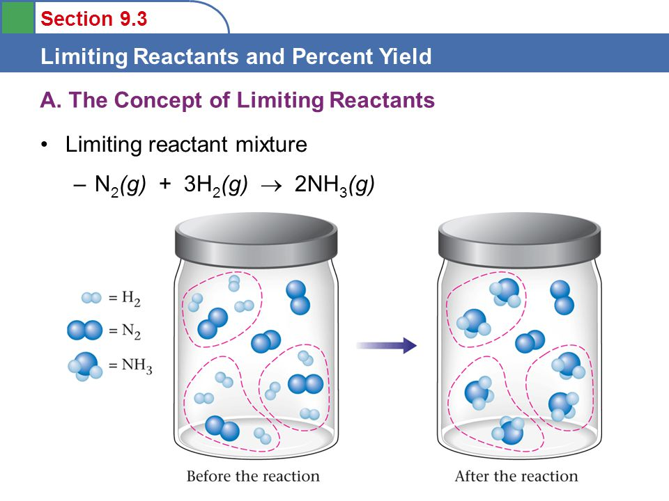 Section 9.3 Limiting Reactants and Percent Yield For a Limiting reactant mixture the number of moles are not balanced to match the reaction equation –N 2 (g) + 3H 2 (g)  2NH 3 (g) A.