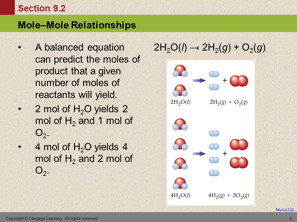 Section 9.5 Calculations Involving a Limiting Reactant Return to TOC Copyright © Cengage Learning.