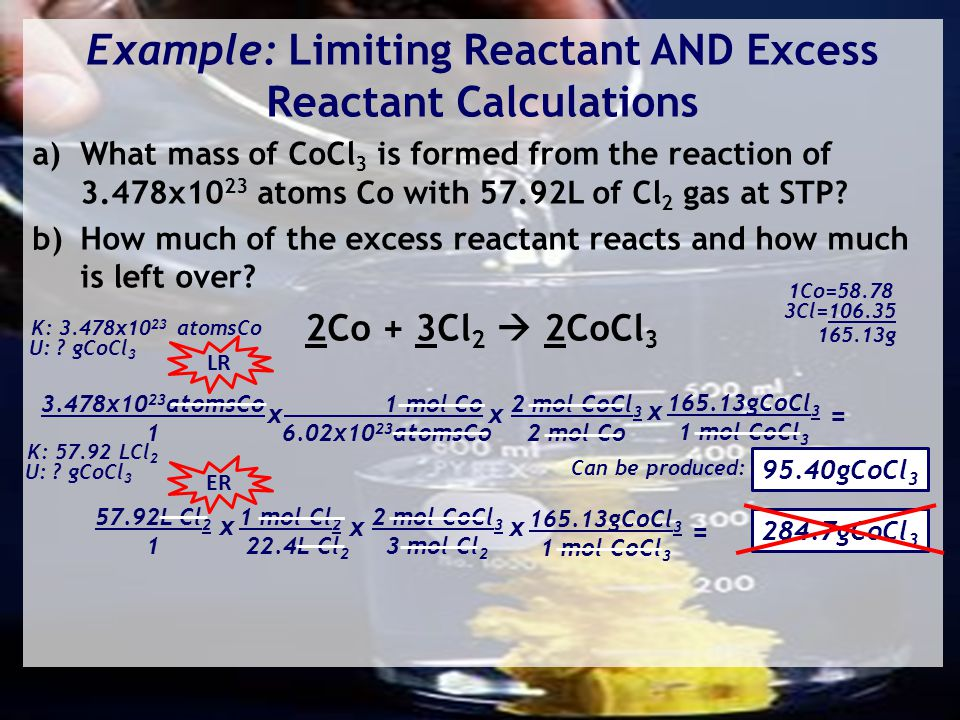 Example: Limiting Reactant AND Excess Reactant Calculations a)What mass of CoCl 3 is formed from the reaction of 3.478x10 23 atoms Co with 57.92L of Cl 2 gas at STP.