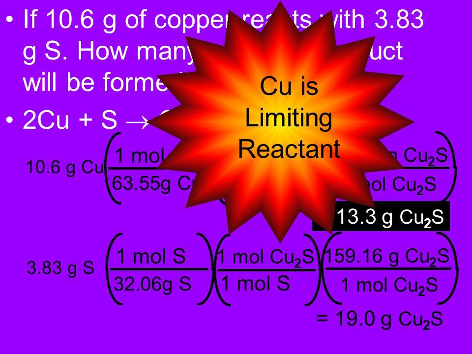 2Al + 3CuSO 4 -> Al 2 (SO 4 ) 3 + 3Cu 1.85g Al 26.98g Al 1mol Al 2mol Al 3mol Cu 63.55g Cu 1mol Cu = 6.54g Cu Now percent yield 3.70g 6.45g X 100%= 57.36%