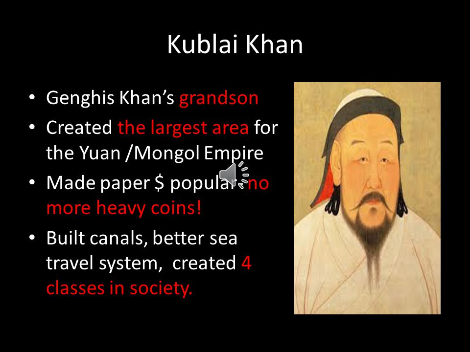 Genghis Khan's Accomplishments Created laws called yassa Helped peasants and soldiers and rewarded hardwork and loyalty instead of giving positions ba