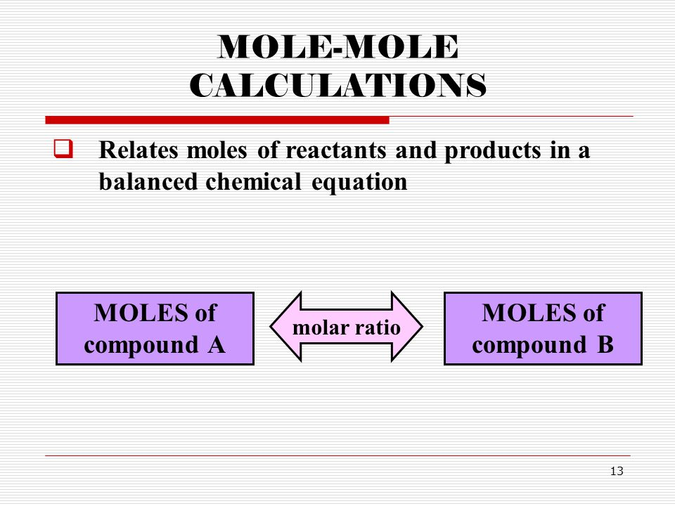 13 MOLE-MOLE CALCULATIONS  Relates moles of reactants and products in a balanced chemical equation MOLES of compound A MOLES of compound B molar ratio